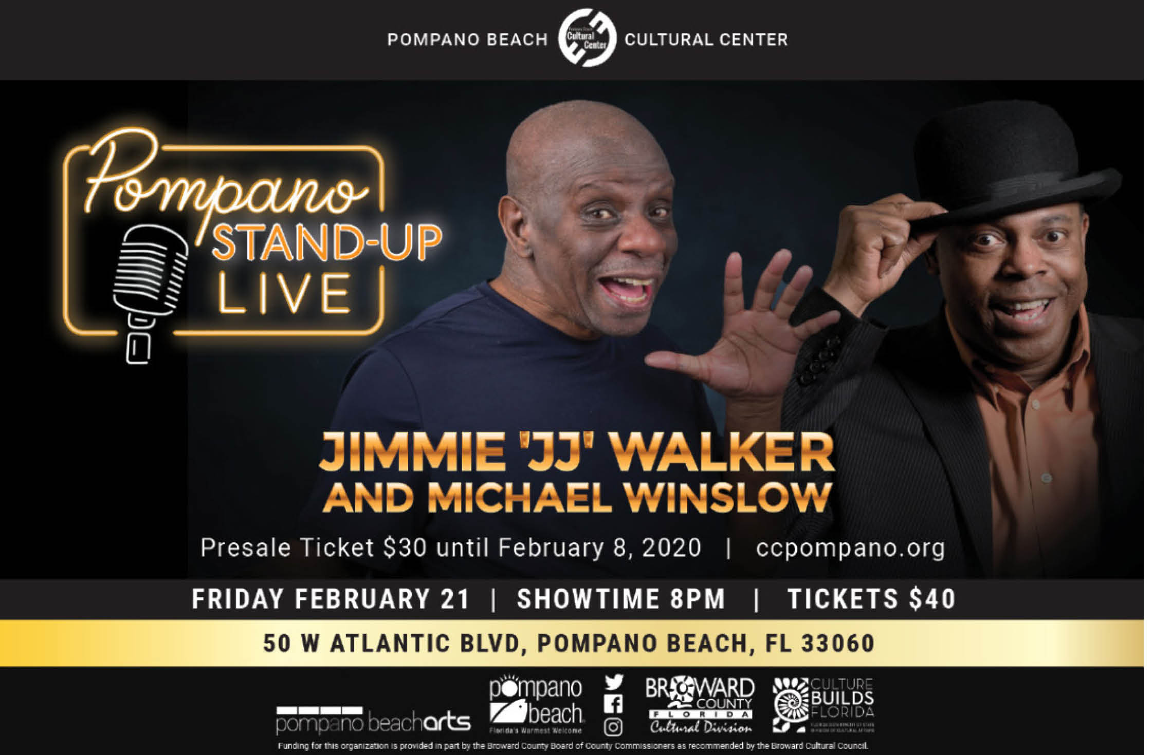 "Jimmie ""JJ"" Walker and Michael Winslow Headline Pompano Stand-up Live!"