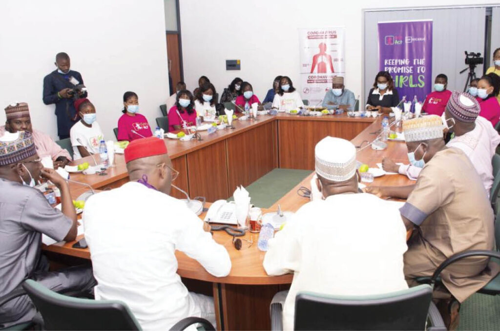 AHF Nigeria staff and Girls Act members meet with parliament on pressing issues affecting young women and girls.